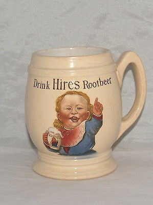 Antique Drink Hires Root Beer Advertising Pottery Mug Mettlach Villeroy & Boch