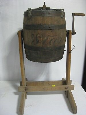 Antique Star wood barrel butter churn with stand