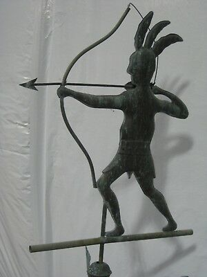 Rare Antique Folk Art Copper Native American Indian Weathervane with stand