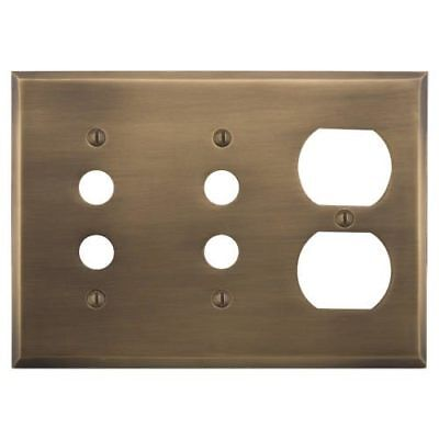 Signature Hardware Classic Solid Brass Double Push Button and Outlet Plate
