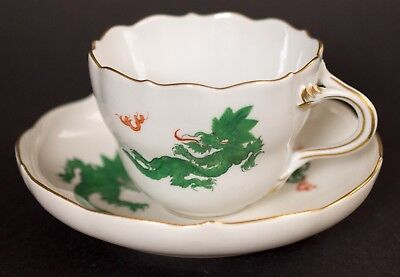 Meissen Green Dragon Cup & Soucer