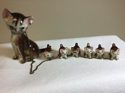 Vintage Japan Victoria Momma Cat With 6 Leashed Kittens