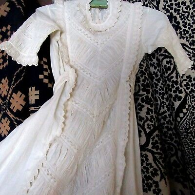 Civil War-Victorian Antique HANDMADE Christening Gown Embroidery Lace TUCKS