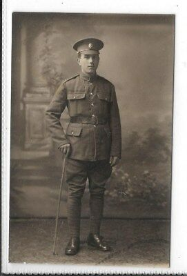 WW1 Photographic Postcard British Soldier Standing with a Stick