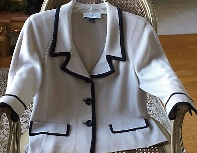 ST. JOHN Collection - Taupe Knit Jacket with Black Trim - 3/4 Sleeves - Size 8