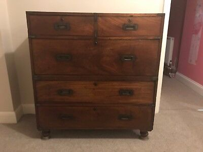 19th Century Mahogany Military Campaign Chest of Drawers