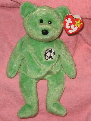 Kicks TY Beanie Baby Green Soccer Teddy Bear MWMT Birthday August 16, 1998 #4229