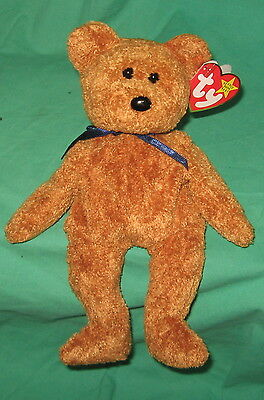 Fuzz TY Beanie Baby Soft Gold Tan Teddy Bear MWMT Birthday July 23 1998 #4237