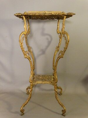 19thC Antique VICTORIAN Era CAST IRON Reticulated BRONZED Old PLANT STAND TABLE
