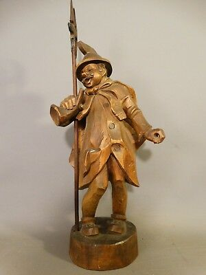 "22"" Vintage BLACK FOREST Old CARVED Wood GERMAN type TOWN CRIER STATUE Sculpture"