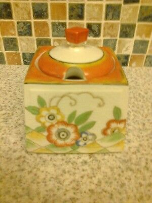 Vintage Art Deco Foreign Marmalade Preserve Jar Orange Detail & Flowers