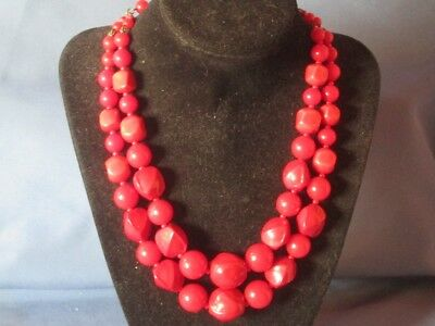 Vintage Gold-Tone Metal 2 Strand Red Plastic Bead Necklace