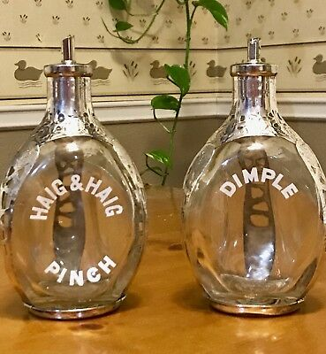 Pair HAIG DIMPLE PINCH Bottles/Decanters Sterling Silver Overlay Mexico Roses