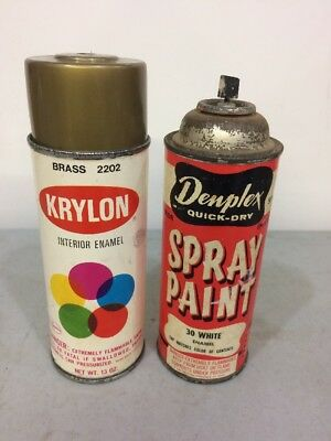 Vintage Krylon Spray Paint Gold  And Denplex Spray Can White With Paper Labels