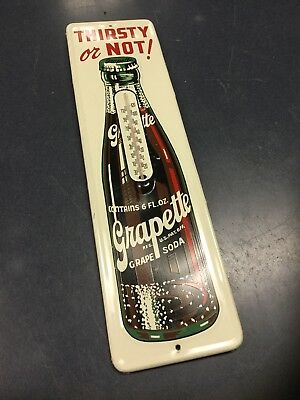 Vintage Grapette Soda Bottle Thermometer Sign Thirsty or Not Metal Tin