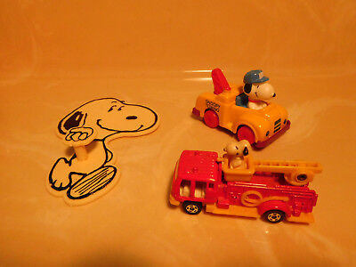 Peanuts Snoopy tow truck, fire truck, hat hook United Feature Synd 1958, 1966