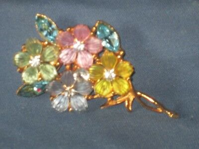 Vintage Gold-Tone Metal Multicolor Lucite & Rhinestone Flower Spray Pin Brooch