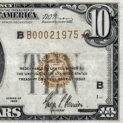 Rare Star Note! VF New York 1929 $10 Dollar FRBN brown seal Bill Fr 1860-B 3322C
