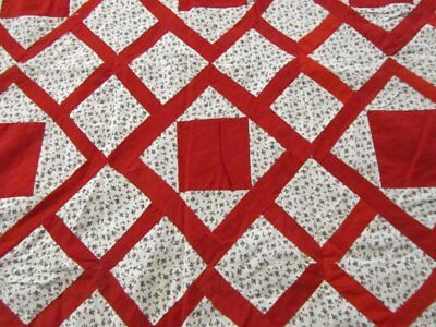 """Christmas Red ! c 1900 Garden Maze """"and Squares"""" Antique QUILT Top"""