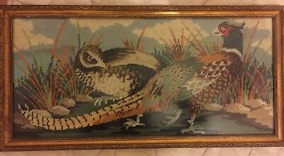 Beautiful Antique Handmade Tapestry Of 2 Pheasants Grass Landscape Scene