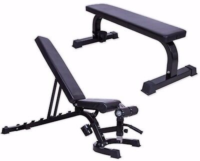 Weight Bench Adjustable Flat Heavy Duty Multi Gym Utility Incline FID Exercise