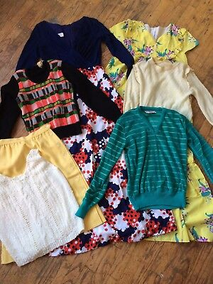 Mixed 70s VINTAGE Clothing Wholesale Lot 7 PIECE dress sweater skirt XS small