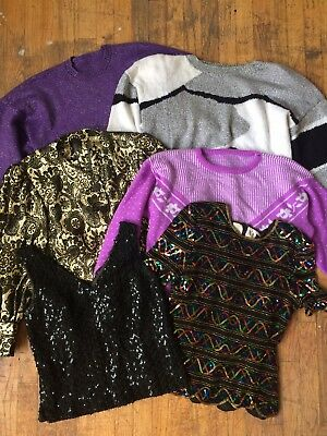 VTG LOT Sparkly Sweaters Tops Jacket LUREX sequin HOLIDAY Party XMAS Silver GOLD