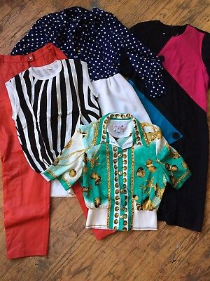 80s Mixed Vintage Lot Dresses Pants Tops XS small MED hermes zebra WHOLESALE
