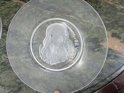 """Old Masters Collection Glass Plate """"Da Vinci"""" By Val St Lambert Belgium [*4]"""
