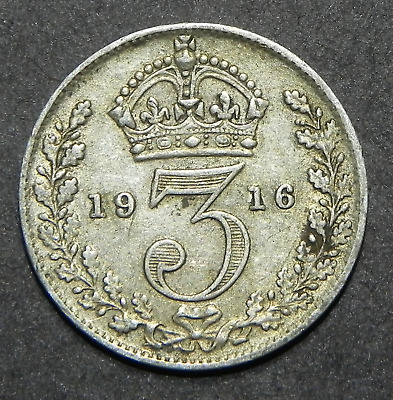 1916 Great Britain Uk 3 Pence Silver Coin!! Threepence World Coin