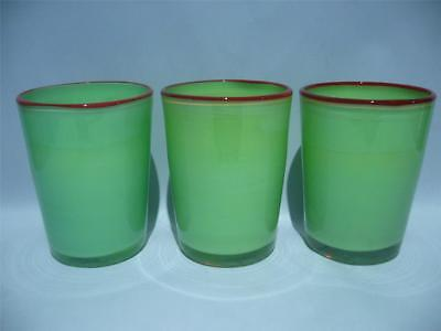Villeroy & Boch Large Hand Made Art Glass Tumblers X 3 - Green & Red - Vgc