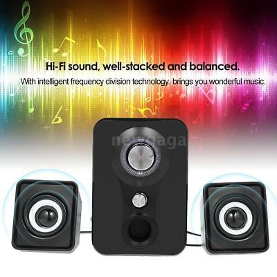 Mini Stereo Sound Wired Speaker Bass Subwoofer USB Powered Audio For Computer PC