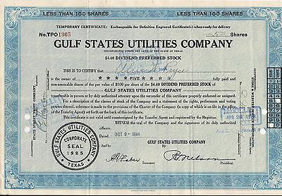 Stock certificate Gulf States Utilities Compan. Texas 5 shares 1944