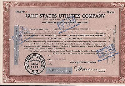 Stock certificate Gulf States Utilities Compan. Texas 50 shares 1956