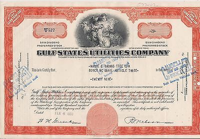 Stock certificate Gulf States Utilities Compan. Texas 29 shares 1959