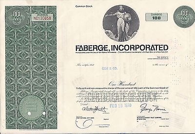 Stock certificate Faberge Inc 1970 100 shares (Rayette)