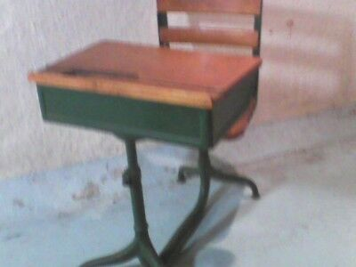 Vintage Child's 1950'S School Desk with Attached Swivel Chair WOOD VG+