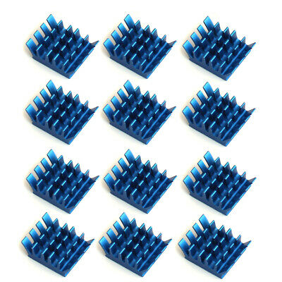 12pcs/set 13x14x6mm blue Aluminum Heat Sink Adhesive Tape For Memory Chip IC