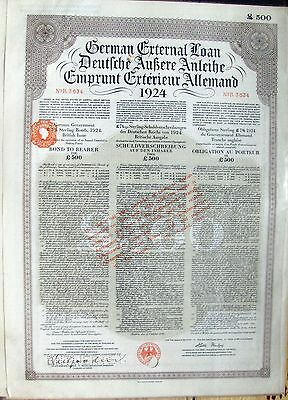 Internal Loan, 1924. Germany £500, British Issue Bond to Bearer cancelled *