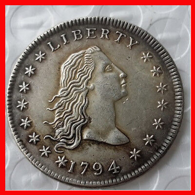 RARE ANTIQUE United States Coins 1794 Flowing Hair Silver Color COIN FREE SHIP