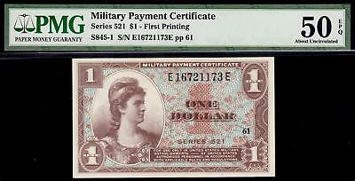 High Grade MPC Series 521 $1 Military Payment ONE DOLLAR PMG 50 EPQ S845-1 3316C