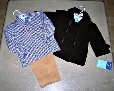 ❤3 Pieces ❤Nwt❤Brown Fleeced Pea Coat-Shirt-Pants❤Brown Blue Plaid-Tan Cords❤12M