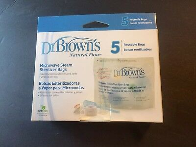 New Dr. Brown's Microwave Steam Sterilizer Bags, 5 COUNT, BPA-Free