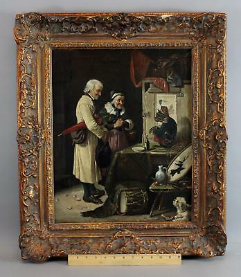 19thC Antique German Genre Oil Painting, Performing Street Theater Monkey & Dog