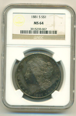Ngc Ms 64 1881-S Morgan Dollar Super End Of The Roll Toning