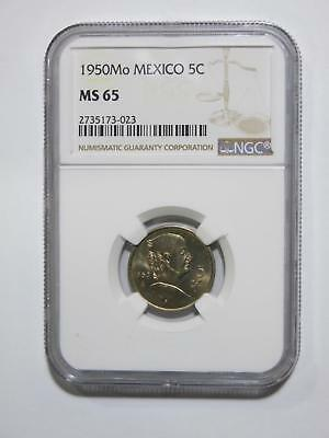 Mexico 1950 Mo 5 Centavos Ngc Ms65 Cn Gem High Grade World Coin Collection Lot