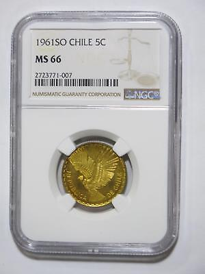 Chile 1961 So 5 Centesimos Eagle Gem+ Graded Toned Ngc 66 Coin Collection Lot