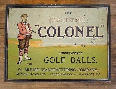 EXTREMELY RARE c1915 COLONEL GOLF BALLS TIN in EC.   NONE BETTER!