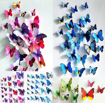 New 12Pcs 3D Butterfly Wall Decals Removable Sticker Baby Room Home DIY Decor