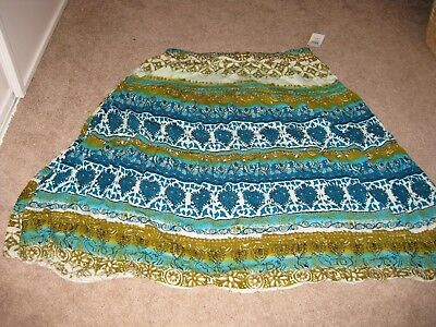 NWT Notations Women's Multi Colored Floral Pattern Plus Size Skirt - 3X